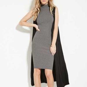Gray Ribbed Knit Bodycon Sleeveless Sweater Dress